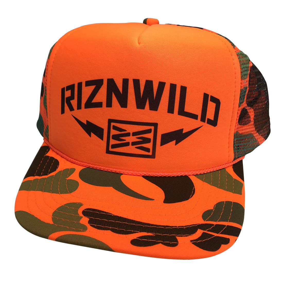 Danger Curved Bill Trucker Hat in Neon Orange Camo