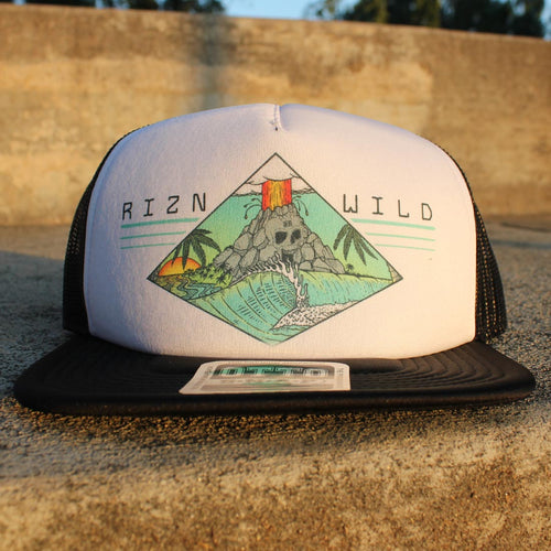 RIZNWILD | black and white trucker hat with a colorful surf and volcano island logo