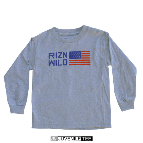 RIZNWILD | Juvi long sleeve athletic heather t-shirt with American flag logo