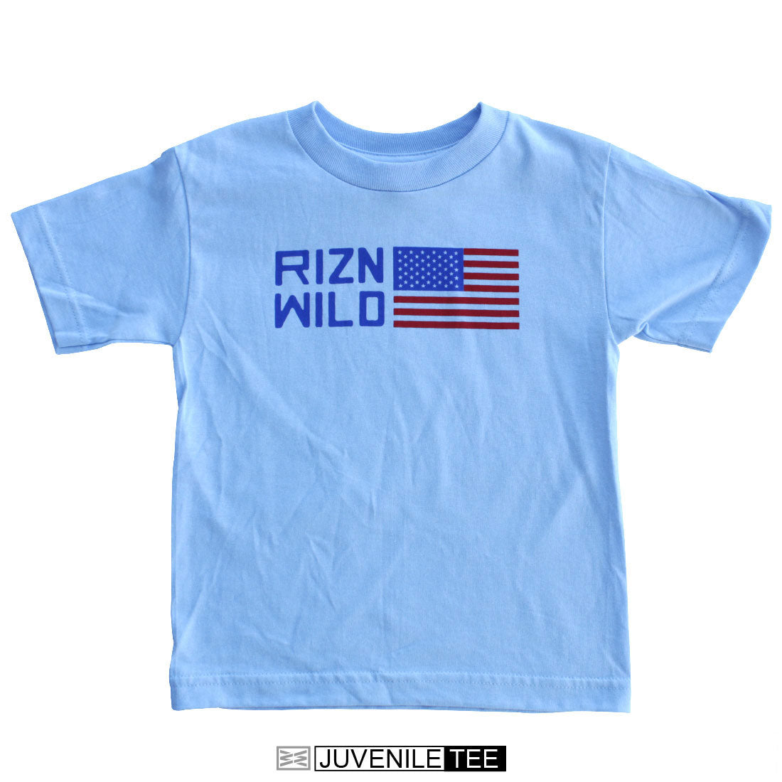 RIZNWILD | Patriot Juvenile short sleeve tee powder blue american flag logo