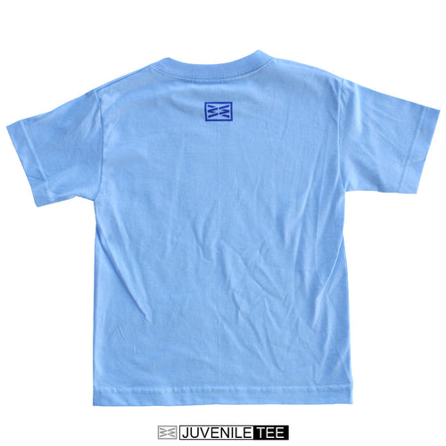 RIZNWILD | Juvi short sleeve tee powder blue back of shirt