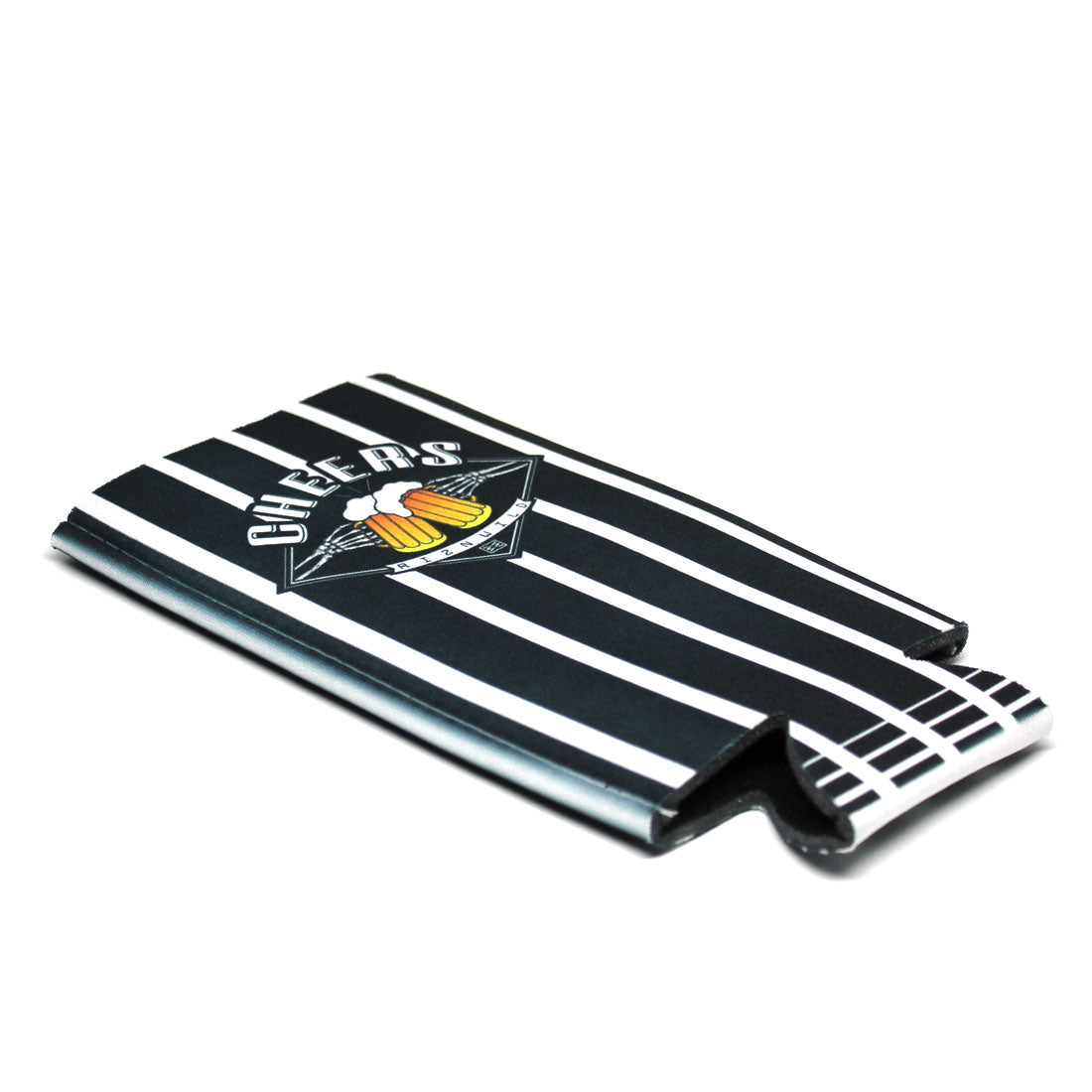 Cheers Tallcan Sublimated Koozie Black/White