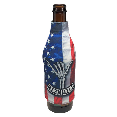 RIZNWILD | red, white, and blue stars and stripes Shaka design sublimated beer bottle koozie