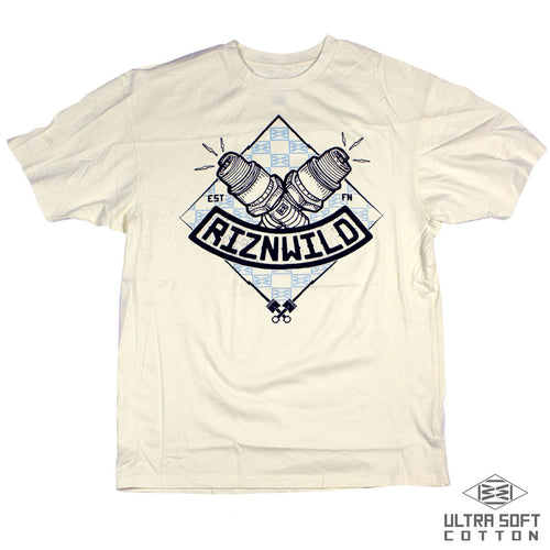 RIZNWILD | Ultra Soft men's ring spun cotton spark plug tee design