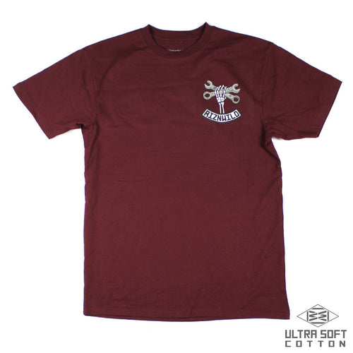 RIZNWILD | soft men's tee left chest design maroon t-shirt
