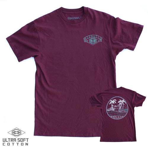 RIZNWILD | men's maroon tee with a cool island themed jet ski skeleton, palm trees, ocean