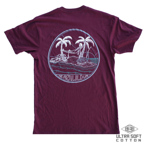 The RIZNWILD Life Mens Ultra Soft Tee in Maroon