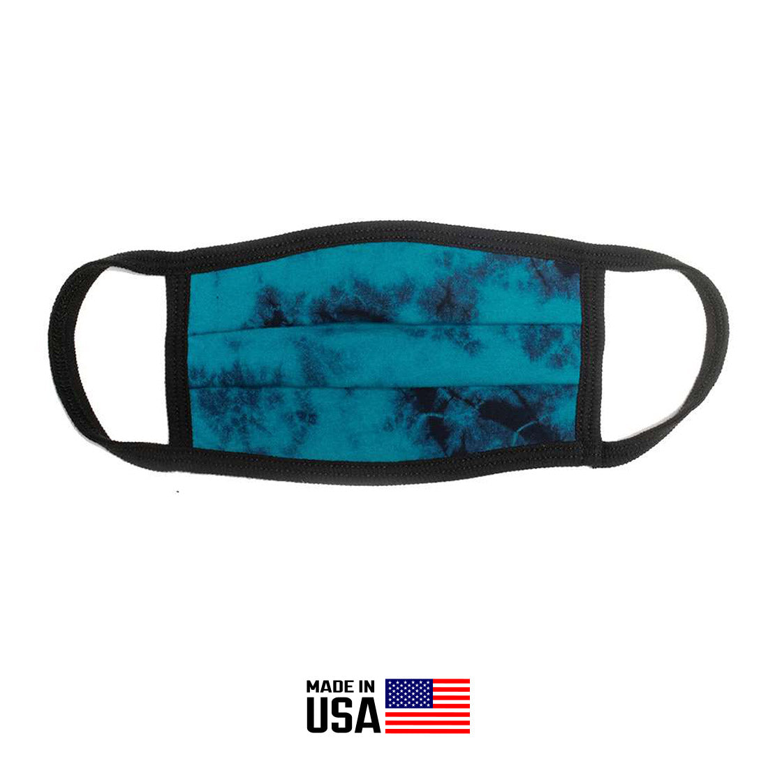 FACE MASK CLOTH 100% COTTON IN CRYSTAL WASH TEAL/NAVY