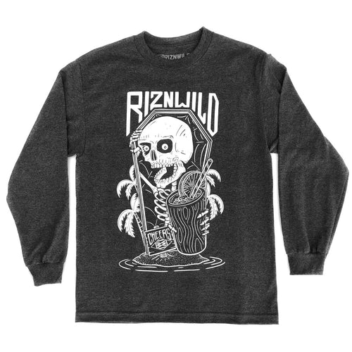 Skeleton Cove Mens Long Sleeve Standard Tee in Charcoal Heather