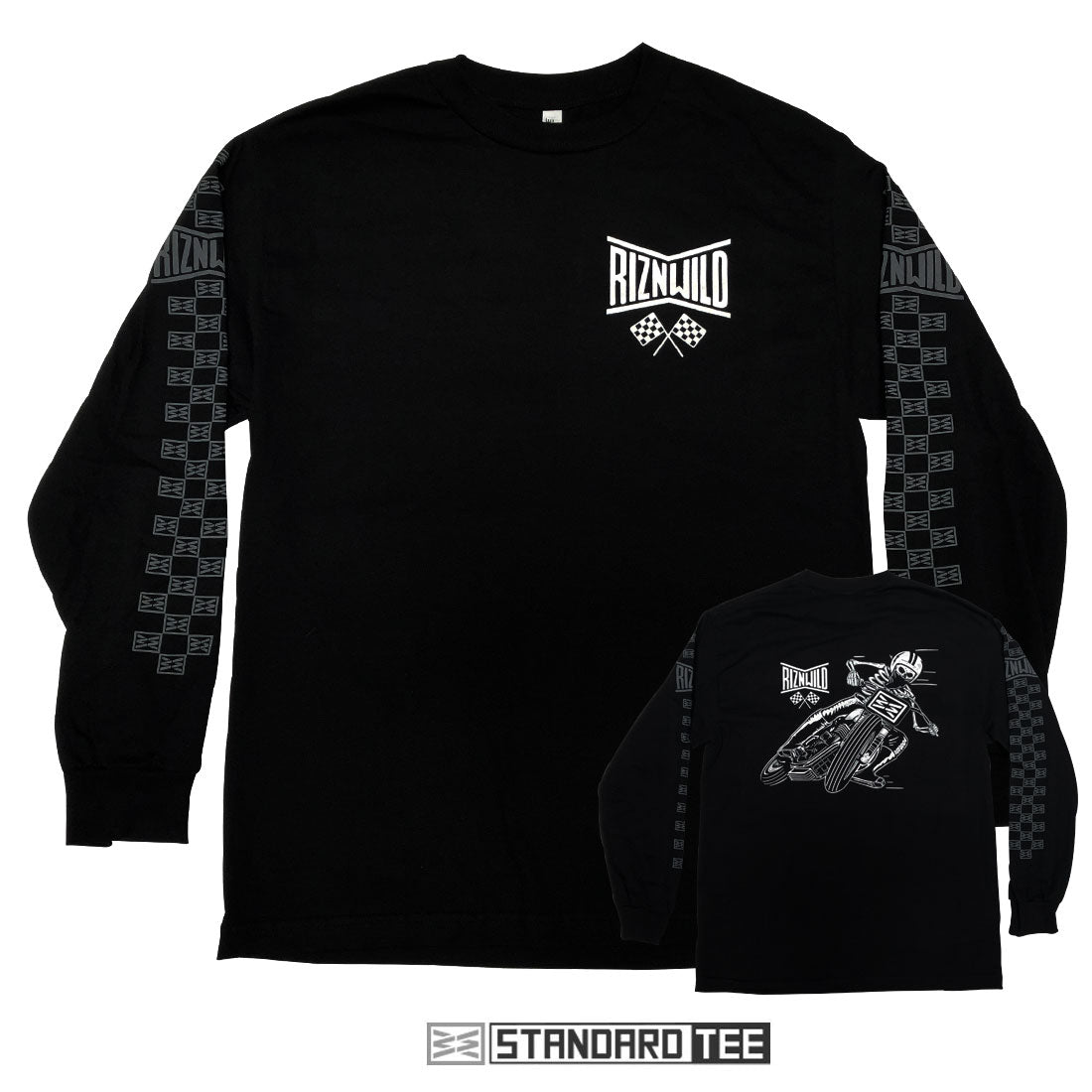 Flat Tracker Mens Long Sleeve Standard Tee in Black by RIZNWILD