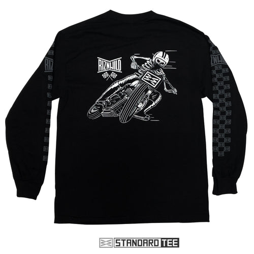 Flat Tracker Mens Long Sleeve Standard Tee in Black by RIZNWILD - Back View