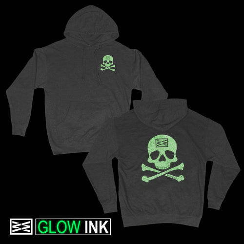 RIZNWILD | Men's pullover hoodie jolly roger design glows in the dark