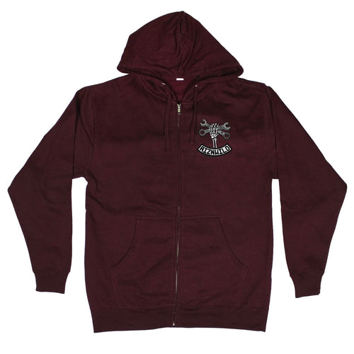 Wrench Twist Mens Midweight Zip-Up Sweatshirt in Maroon