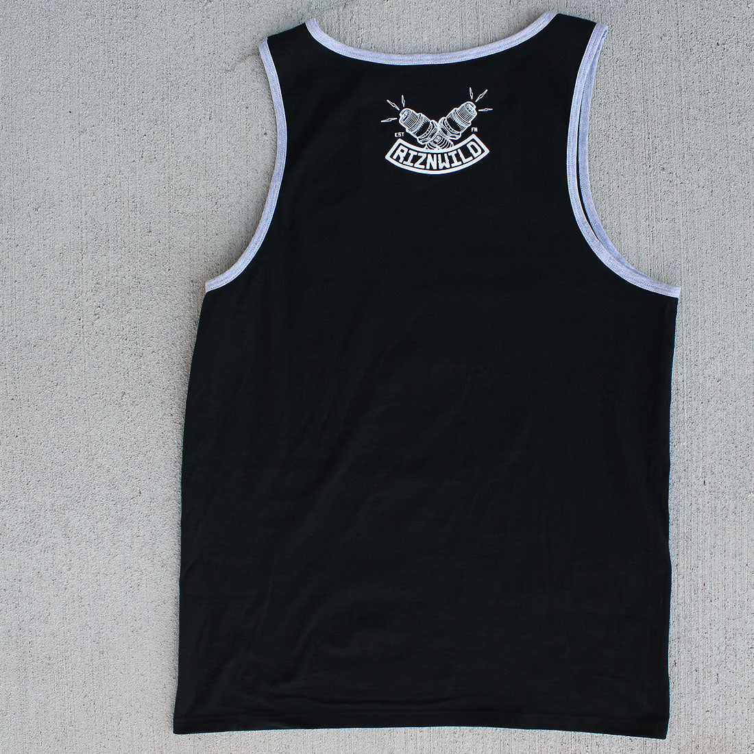 RIZNWILD | men's tank in black with grey piping ultra soft back view