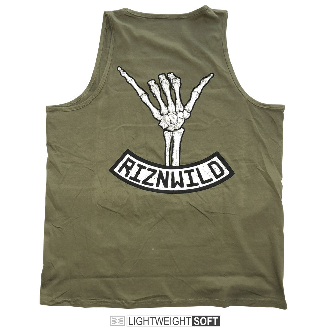 Shaka Mens Tank in Military Green