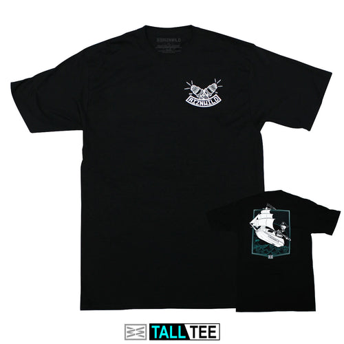 Captain Skinner Mens Tall Tee in Black
