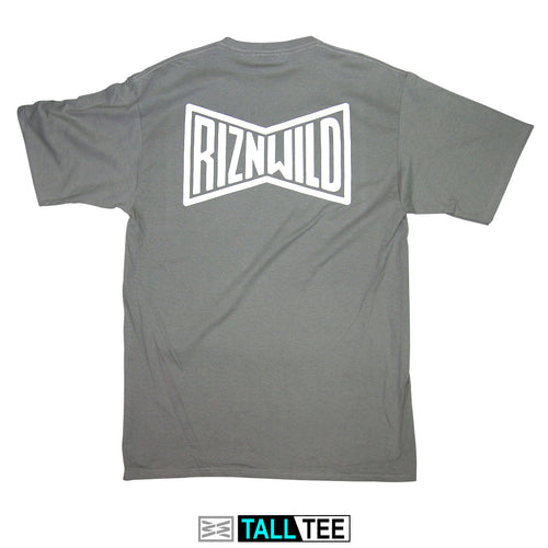 Mens Tall Tee in Medium Grey - RIZNWILD - Back View