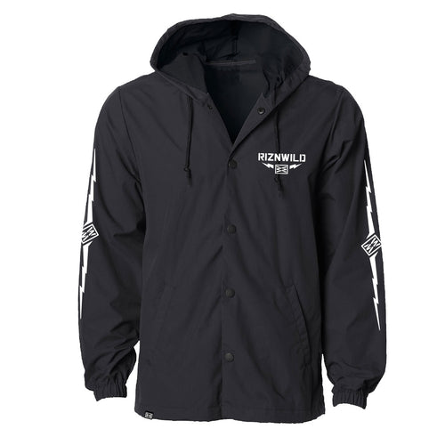 Thunder Water Resistant Hooded Windbreaker Jacket in Black