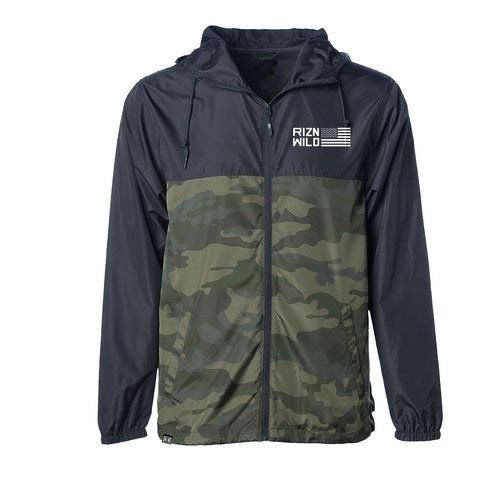 Glory Lightweight Packable Windbreaker Jacket in Black/Forest Camo