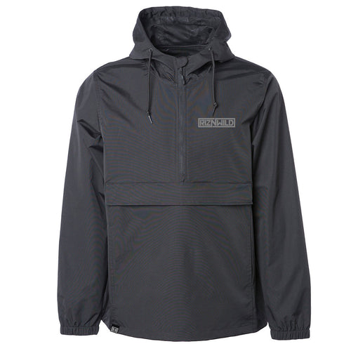 Maze Water Resistant Windbreaker Anorak Jacket in Black