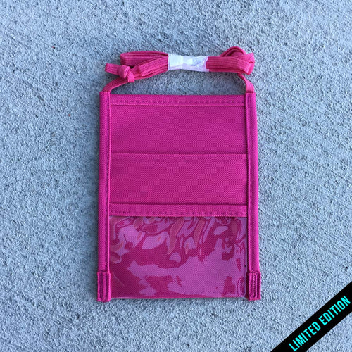 Riznwild pink badge holder back with 2 pockets