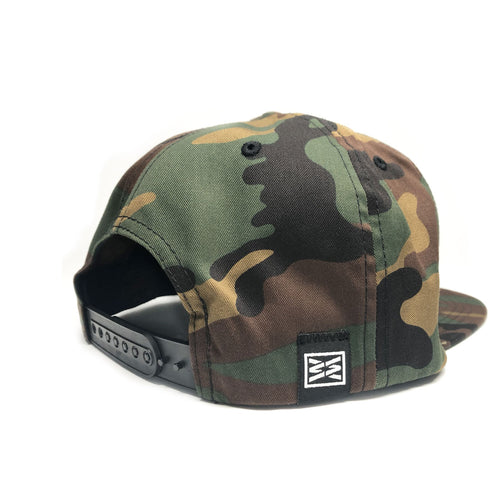 RIZNWILD | camo hat woven label sewn on back of cap
