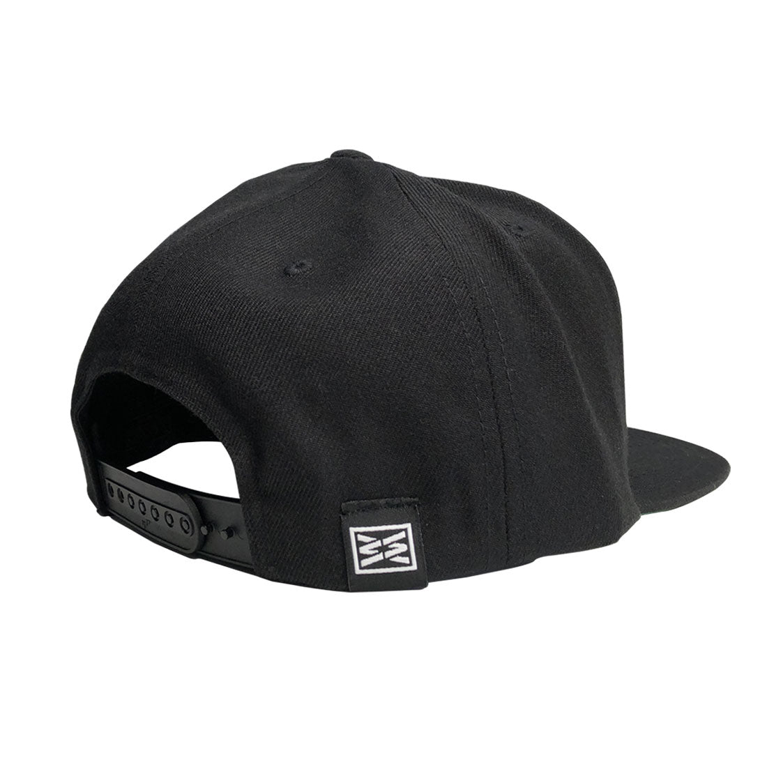 RIZNWILD | Black snap back hat with private woven label sewn on