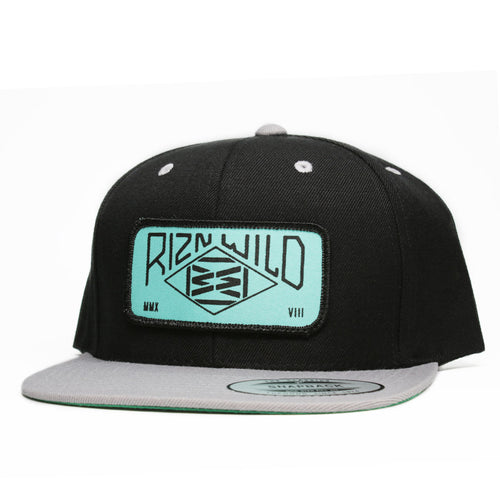 RIZNWILD | Silver and black snapback hat mint and black patch on front