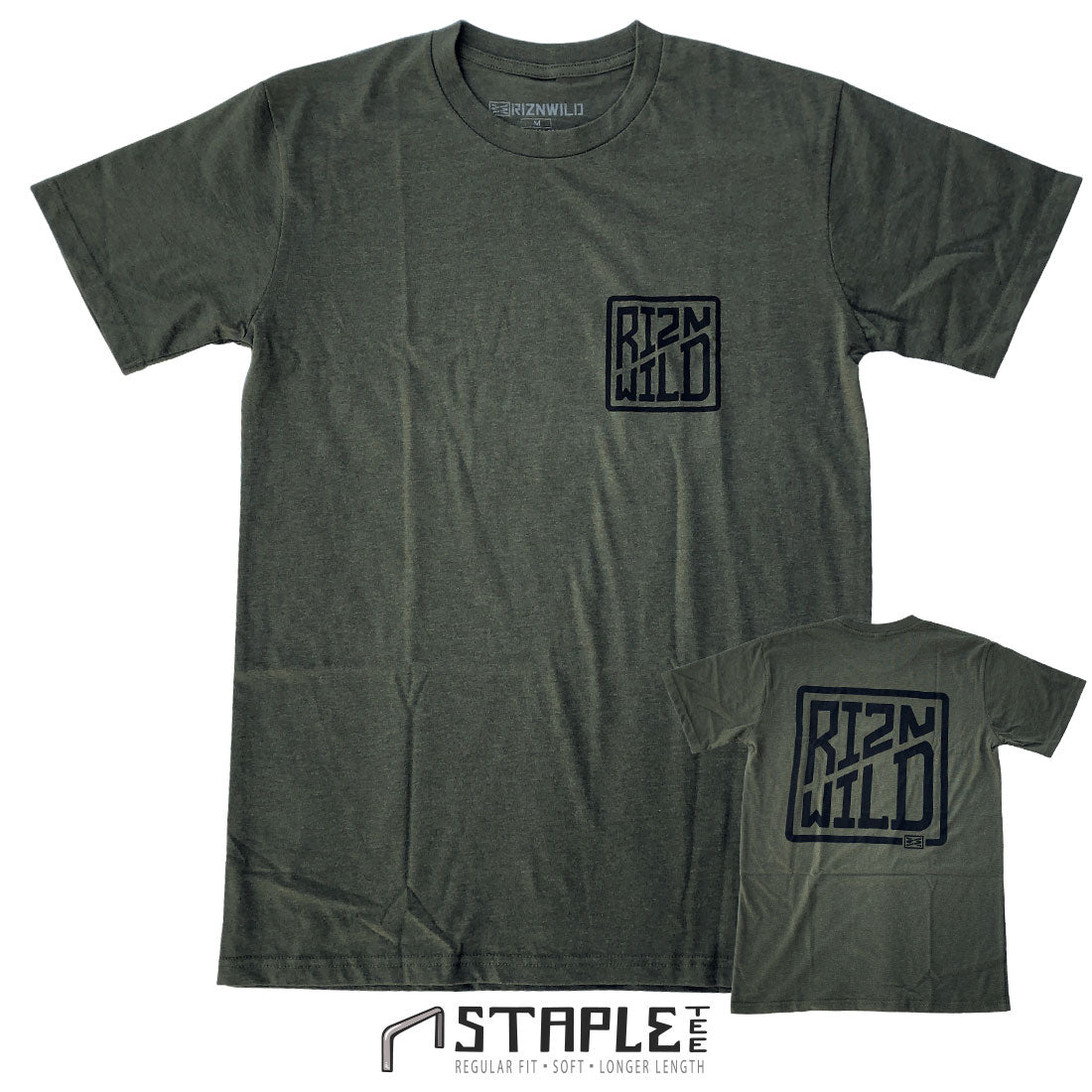 RIZNWILD's Cased men's staple tee in Army Heather