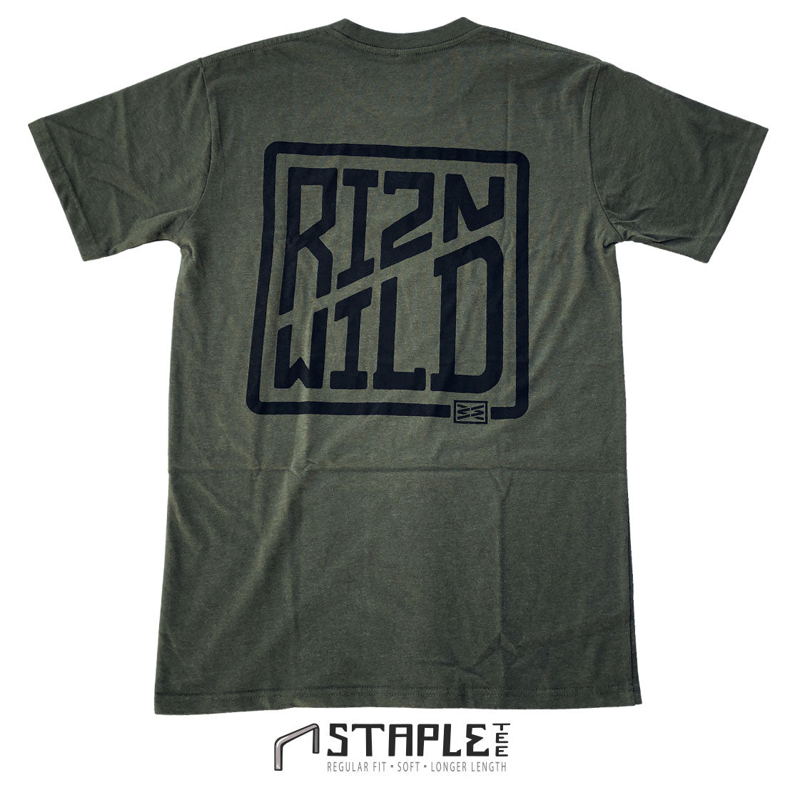 RIZNWILD 2020 collection big logo on the back of the tee screen printed