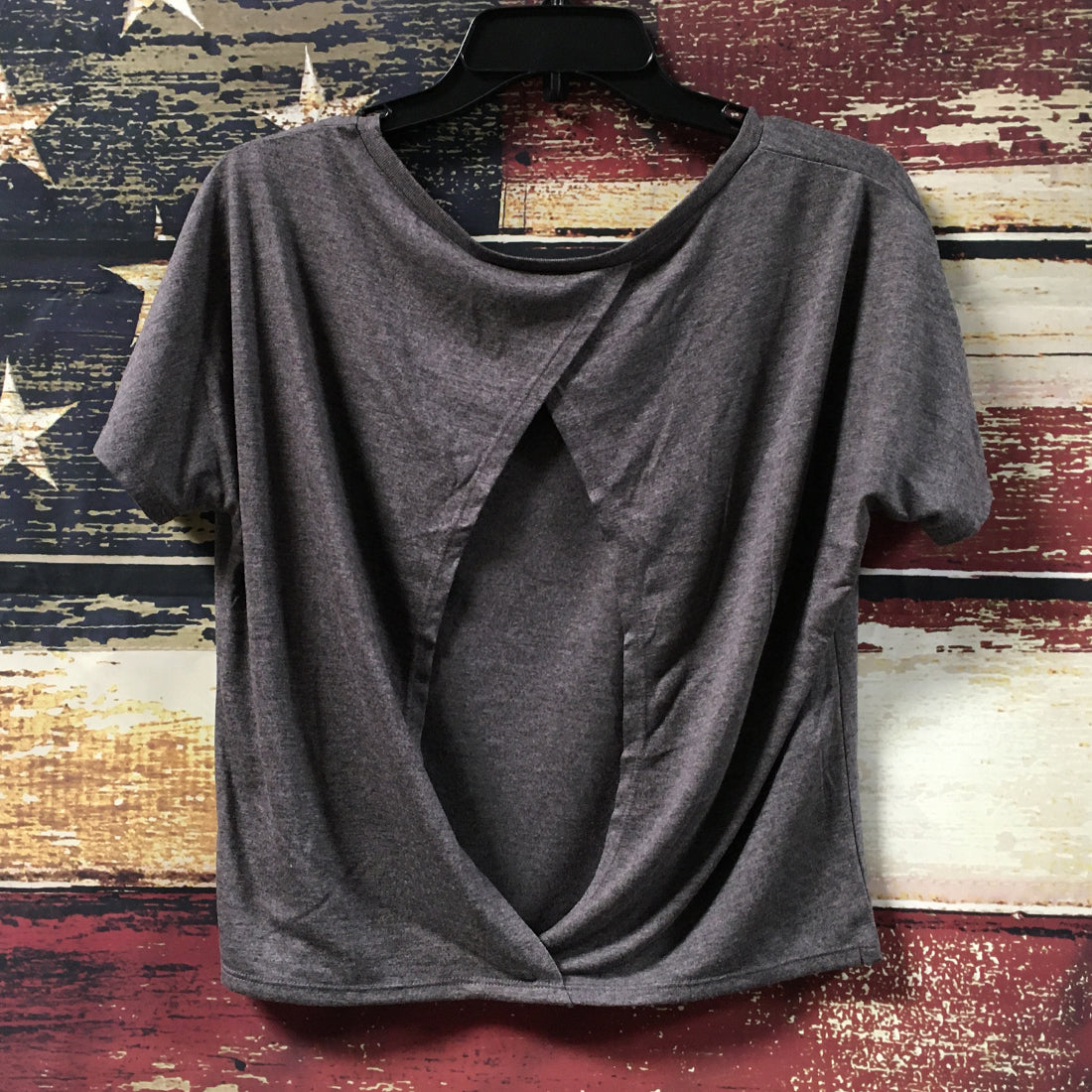 VINTAGE WOMEN'S FLOWY OPEN BACK TEE IN GREY HEATHER