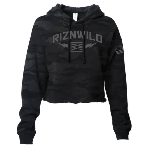 STORM WOMENS CROP HOODIE IN BLACK CAMO