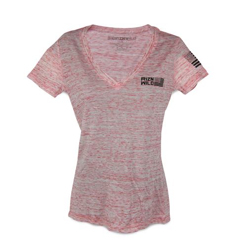 FLIGHT WOMEN'S SHORT SLEEVE V-NECK TEE IN RED MARBLE