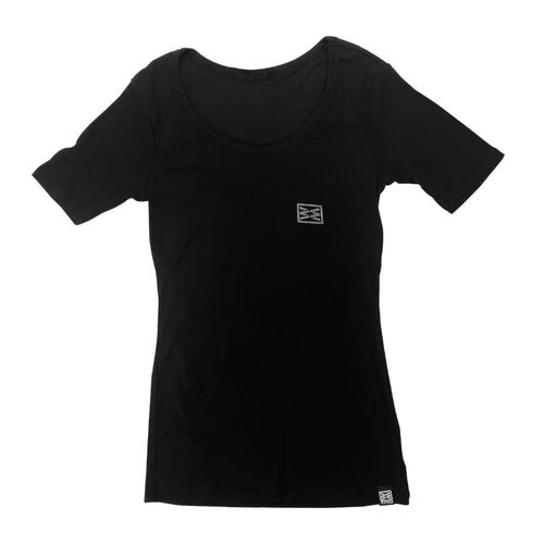 CLASH WOMEN'S RIB SCOOP NECK TEE IN BLACK
