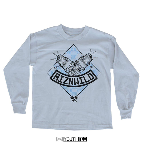 Combust Youth Long-Sleeve Tee in Silver