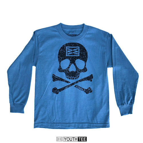 JOLLY ROGER YOUTH LONG SLEEVE TEE IN SLATE