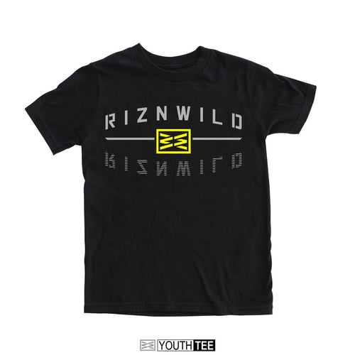 RIZNWILD | Rewind black youth short sleeve tee soft black yellow and grey