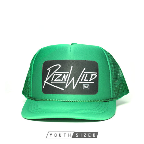 RIZNWILD | cool youth Kelly green trucker hats in stock with patches on them