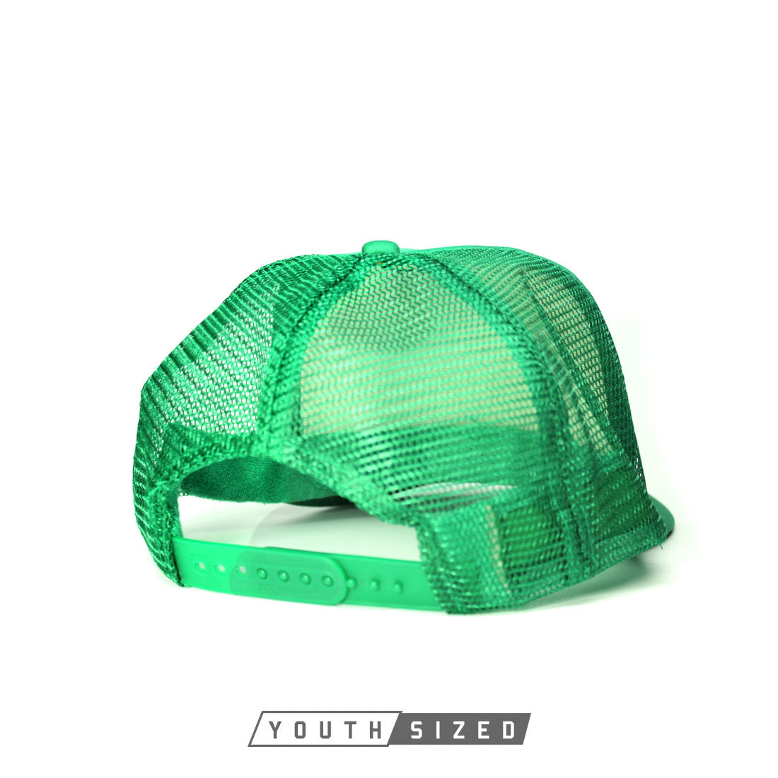 RIZNWILD | youth curved bill kelly green trucker hats back snap view