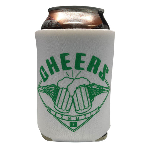 RIZNWILD | Cheers koozie in in white green screen print