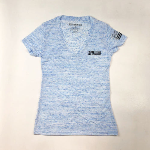 FLIGHT WOMEN'S SHORT SLEEVE V-NECK TEE IN BLUE MARBLE