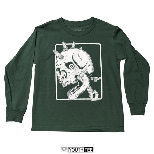 RIZNWILD | MOTO HEAD Youth long sleeve tee hunter green