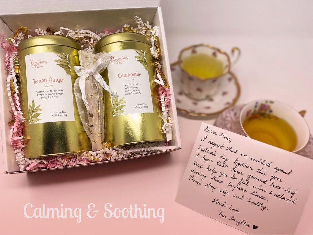 Calming and Soothing tea image depicts Lemon Ginger and Chamomile Tea in their box within their gift box along with tea filters and a custom note. The two teacups show what the teas look like once brewed.