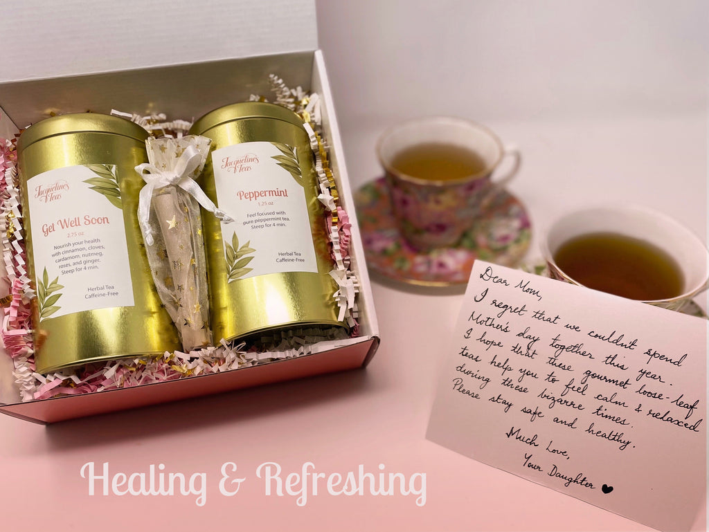 Healing and Refreshing tea image depicts Get Well Soon and Peppermint Tea in within their gift box along with tea filters and a custom note. The two teacups show what the teas look like once brewed.