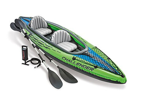 Intex Challenger K2 Inflatable Kayak with Oars and Hand Pump, Green