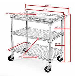 Seville Classics 3-Shelf Heavy-Duty Commercial Utility Cart