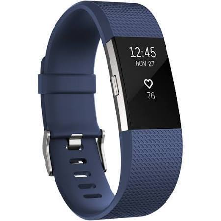 Fitbit Charge 2 - Activity Tracker with Heart Rate Monitor - Large - Blue/Stainless Steel