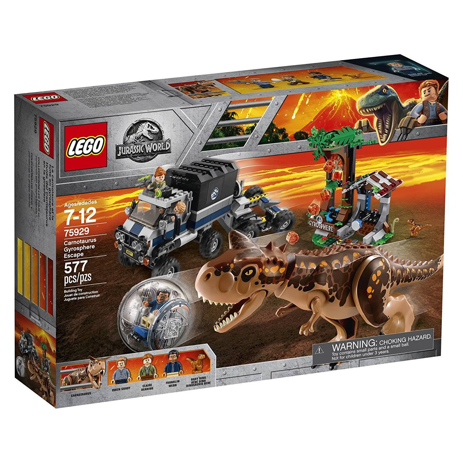 Lego Jurassic World Carnotaurus Gyrosphere Escape Construction Kit