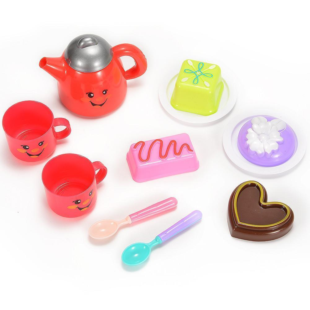 Kids Play Tea Set Toy for Children Tea Party Pretend Play Game with Cute Smiley Face Design (11 Pieces)