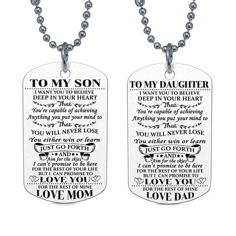 To My Son/Daughter Dog Tag Necklace